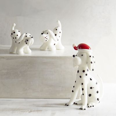 Dalmatian Dog and Pups Christmas Glass Figurine Set of 3 Gift Boxed