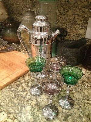 Art Deco Chromium  Cocktail Martini Pitcher Set Amethest And Green Glass Set 4