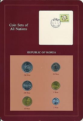Korea South 1980 to 1987 6 coin set