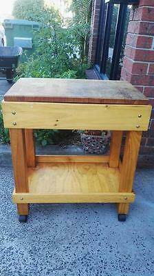 Solid timber butchers block with drawer & castors Bendigo Pottery