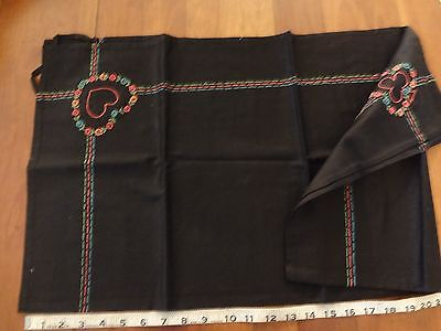 """Vintage black with colorful hand embroidered bridge card table cloth 30 x 30 """""""