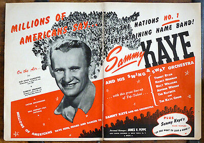 #1 SAMMY KAYE and HIS SWING & SWAY ORCHESTRA 1943 LARGE BILLBOARD 2pp PHOTO AD
