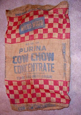 """Original 100 Pound Purina Burlap """"cow Chow Concentrate"""" Feed Sack 2 Sided"""