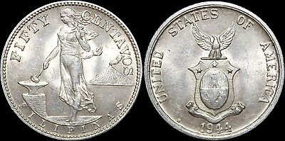 1944-S US/Philippines 50 Centavos ~  Type 1 Obverse of 1921 ~ AU+ ~ 75% Silver