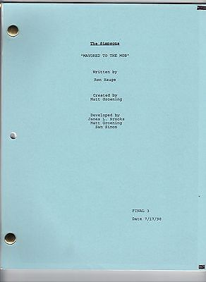 "THE SIMPSONS show script ""Mayored To The Mob"""
