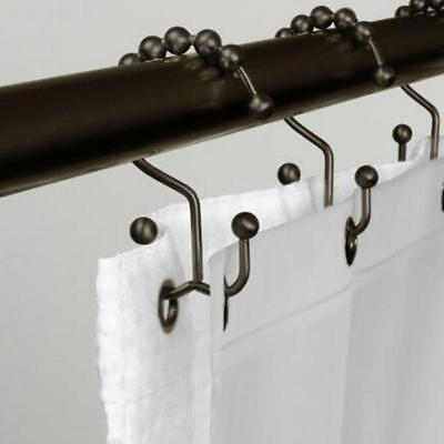 12 PCS DUAL Metal Double Glide Bathroom Shower Curtain Hook Ring Roller Balls  T