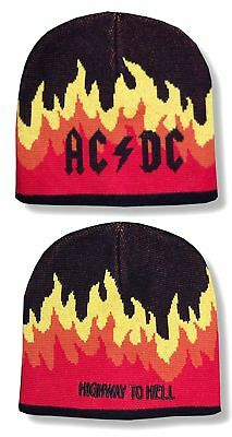 Ac/dc Highway To Hell Flames Beanie Ski Hat New Official