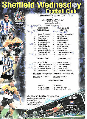 Teamsheet - Sheffield Wednesday v Cambridge United 1998/9 League Cup