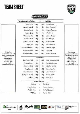 Teamsheet - West Bromwich Albion v Hull City 2014/15 League Cup