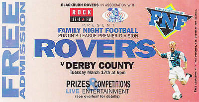 Ticket - Blackburn Rovers Reserves v Derby County Reserves (Undated)