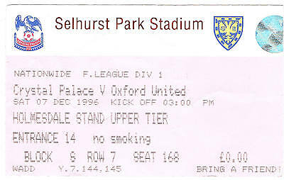 Ticket - Crystal Palace v Oxford United 07.12.1996