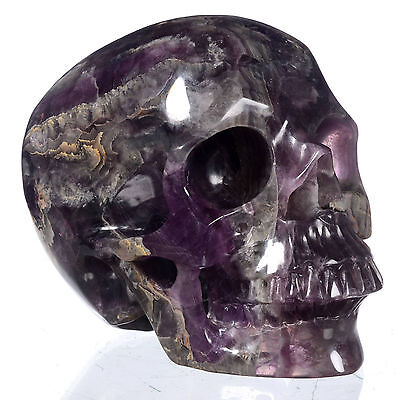 "5.98"" Natural Rainbow fluorite Carved Smiling Skull,Collectibles#21Z95"