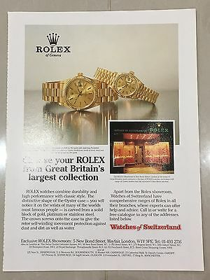 1990's ROLEX Watch A4 Colour Advert L19