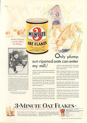 Only plump sun-ripened oats 3-Minute Oat Flakes ad 1930