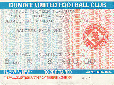 Ticket - Dundee United v Rangers Undated Premier League