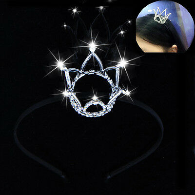 Vintage Small Full Hair Crown Clear Rhinestone Tiara Wedding Party for Girl&Lady