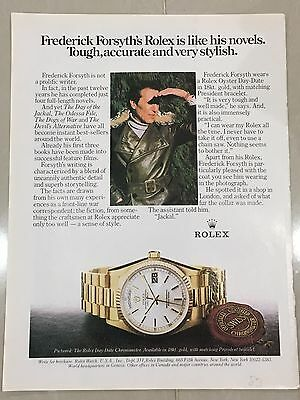 1980's ROLEX Watch A4 Colour Advert L36 - Frederick Forsyth