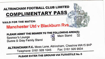 Ticket - Manchester United Res v Blackburn Rovers Res (Undated) @ Altrincham
