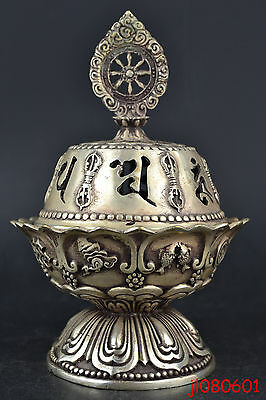 China Collectible Old Copper Silver Plate Tibet Symbol Totem Incense Burner