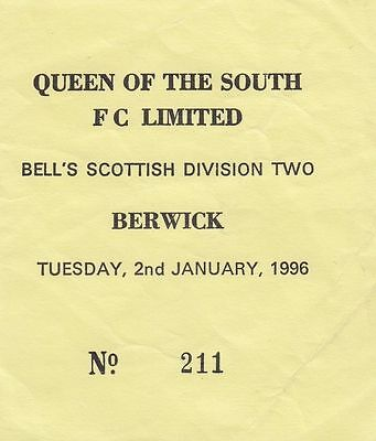 Ticket - Queen of the South v Berwick 02.01.96