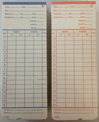 100 Time Cards For Pyramid 2400, At-2400, At-2500 Time Clocks 42426 Compatible