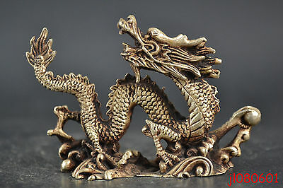 old china collectible tibet silver carve dragon decorate lucky figure statue