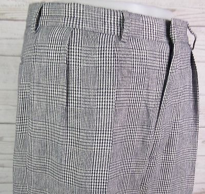 Vtg PLeated Prince of Wales Check Ralph Lauren Linen Cotton Trousers W33L27 DN54