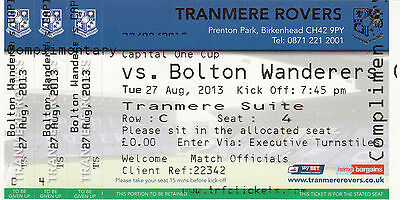 Ticket - Tranmere Rovers v Bolton Wanderers 27.08.13 League Cup