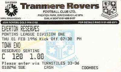 Ticket - Tranmere Rovers Reserves v Everton Reserves 01.02.96