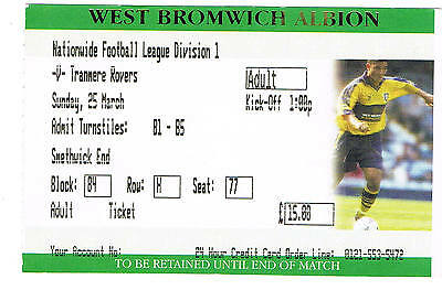 Ticket - West Bromwich Albion v Tranmere Rovers 25.03.2001