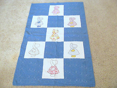Antique Quilt Vintage 1930s Blue Sunbonnet Sue Baby Crib Applique Clearance