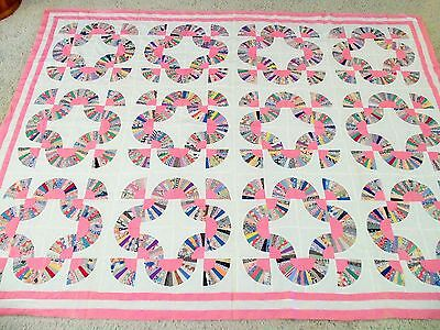 Vintage 1930s Pink Fan Quilt Top Excellent Quality Pretty Amazing w/ Note