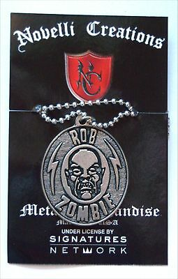 "Rob Zombie Zombie Head ""big Pendant"" Necklace New White Official Nwt"
