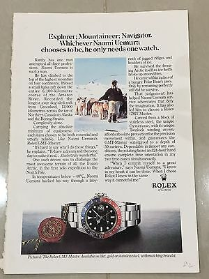 1980's ROLEX Watch A5 Colour Advert L68 - Naomi Uemura