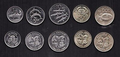 Iceland Lot set of 5 coins Fish/animal AU/Uncirculated
