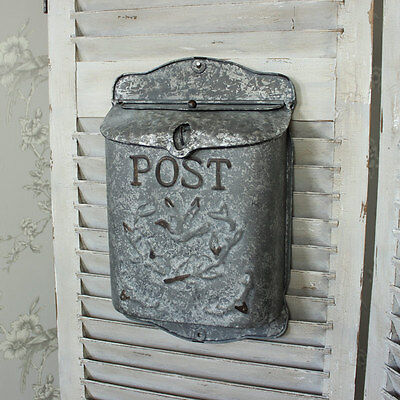 Vintage metal wall mounted post letter box outdoor shabby ornate chic bird