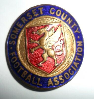 Old  Curved  Somerset  County  Football  Association  Enamel  Tankard  Badge