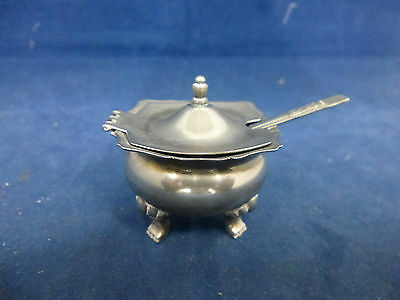 Small Silver Plated Sugar Bowl with Lid and Spoon