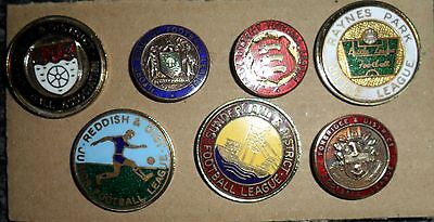 Seven  Old  Assorted  English  Football  Leagues  Enamel  Badges