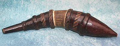 Antique North African Moroccan Powder Horn/Flask 19th cent. Leather, Horn & Wood