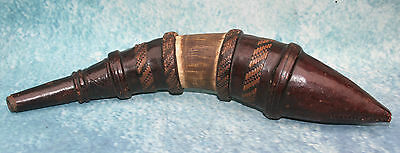 Antique North African Moroccan Powder Horn Flask 19th cent. Leather, Horn & Wood