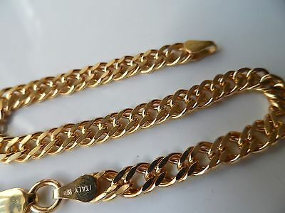 Sterling Silver & Gold Plate Flat Double Link Chain Bracelet - 7.5inch
