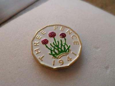Vintage Hand Painted Three Pence Coin 1941. Lucky Charm. Birthday Present