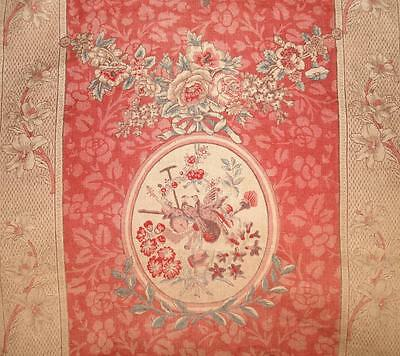 BEAUTIFUL 19th CENTURY FRENCH LINEN, ROSES, BIRDS MUSICAL INSTRUMENTS