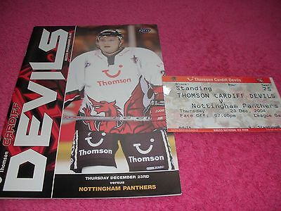 Cardiff Devils v Nottingham Panthers  23/12/04.  With Ticket.