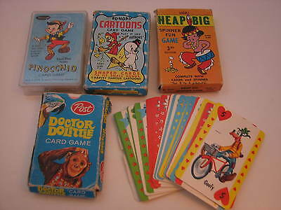 Lot of 5 Vintage Card Games PINOCCHIO, DOCTOR DOLITTLE, FUNDAY CARTOONS, OTHERS