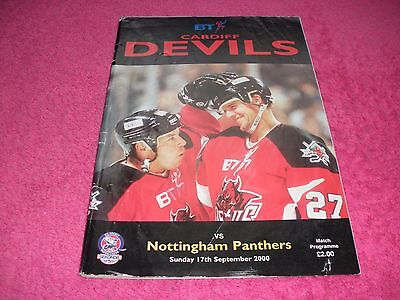Cardiff Devils v Nottingham Panthers  17/9/00.  (With Eight Autographs).