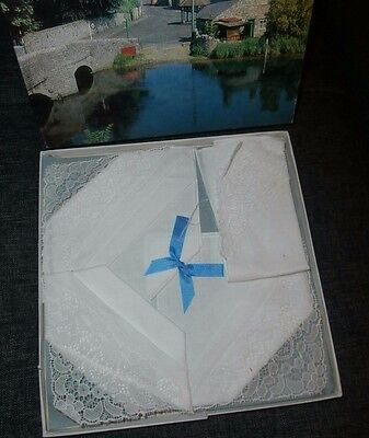 FOUR WHITE COTTON with EMBROIDERED STYLE LACE PANELS LADIES HANDKERCHIEFS~ BOXED