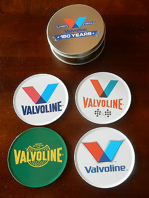 NWOT - VALVOLINE 150th anniversary 1866-2016 Collector's Tin  4 Metal Coasters