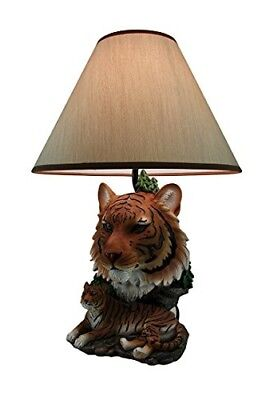 Night of the Tiger Sculptural Bengal Tiger Table Lamp w/Fabric Shade 19 Inch
